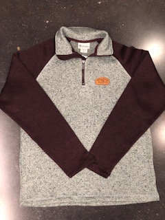Image For 1/4 ZIP PATCH JACKET Gray with Maroon Sleeves