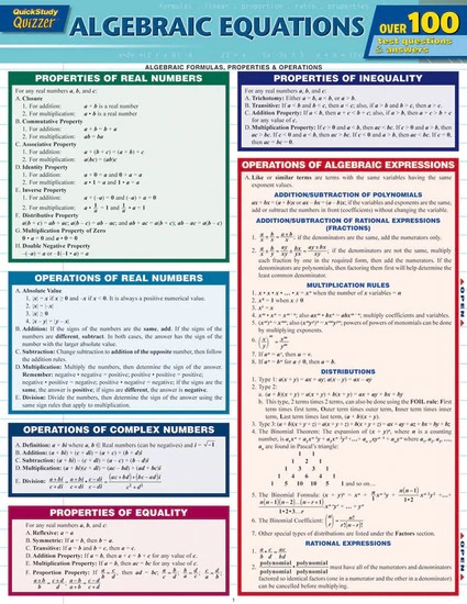 Cover Image For QS ALGEBRAIC EQUATIONS