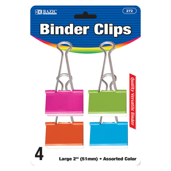 Image For BAZIC BINDER CLIPS 4 PACK